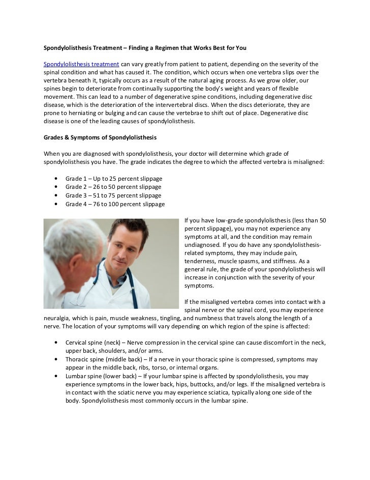 Spondylolithesis symptoms