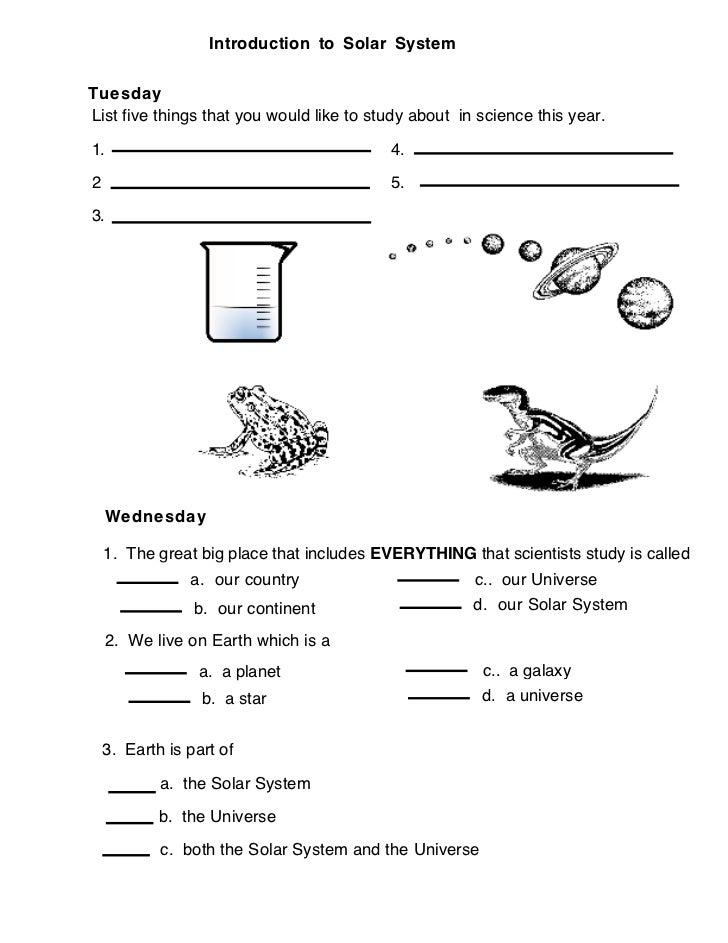 Solar system Introduction (worksheet)
