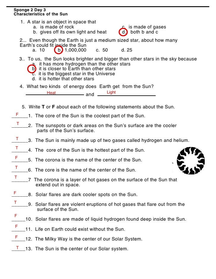 Order of Planets (Worksheet answers )