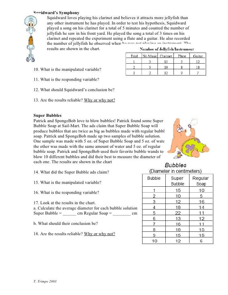 Spongebob Controls Variables – Spongebob Scientific Method Worksheet Answers