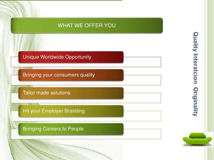 WHAT WE OFFER YOU<br />QualityInteratcionOriginality<br />