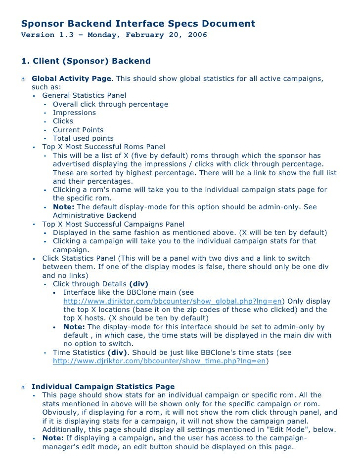 Sponsor Backend Interface Specs Document Version 1.3 - Monday, February 20, 2006   1. Client (Sponsor) Backend    Global A...