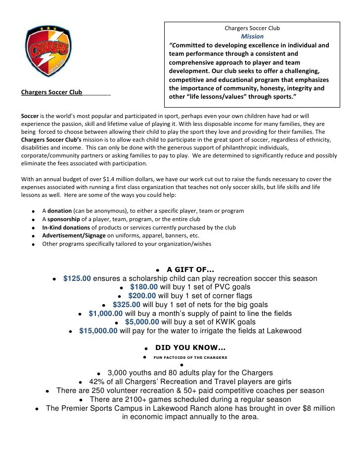 sponsor and donation letter updated chargers soccer club mission