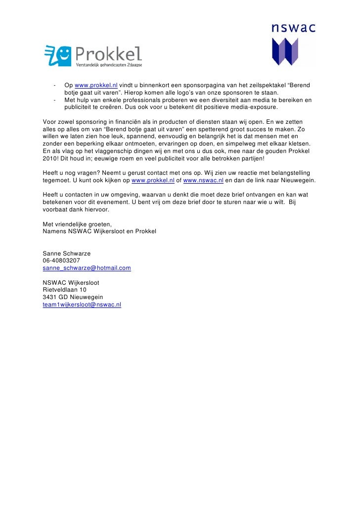 voorbeeldbrief sponsorwerving Sponsorbrief Prokkel Evenement Berend Botje Gaat Uit Varen voorbeeldbrief sponsorwerving