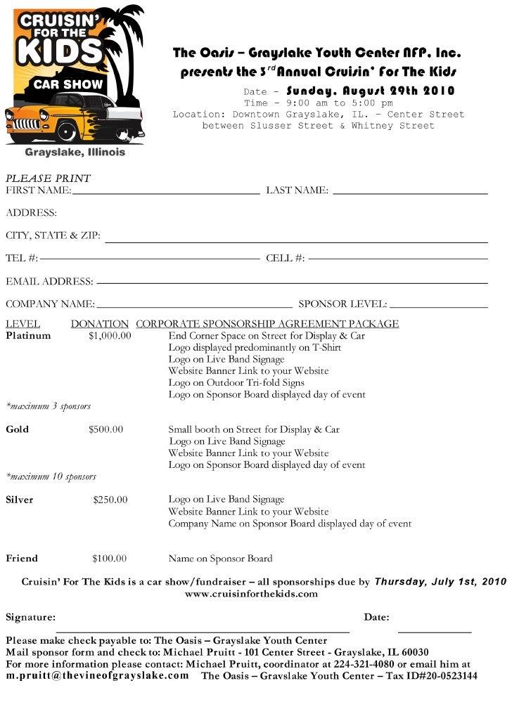 Car Show Sponsor Form - Show car sponsorship