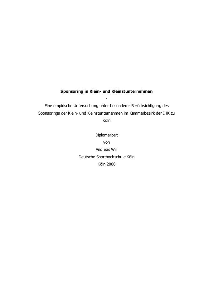 Sponsoring in Klein- und Kleinstunternehmen                                   -   Eine empirische Untersuchung unter beson...
