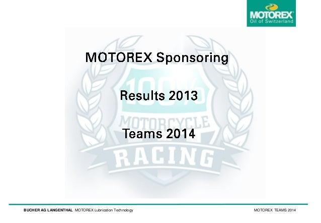 BUCHER AG LANGENTHAL MOTOREX Lubrication Technology  MOTOREX TEAMS 2014