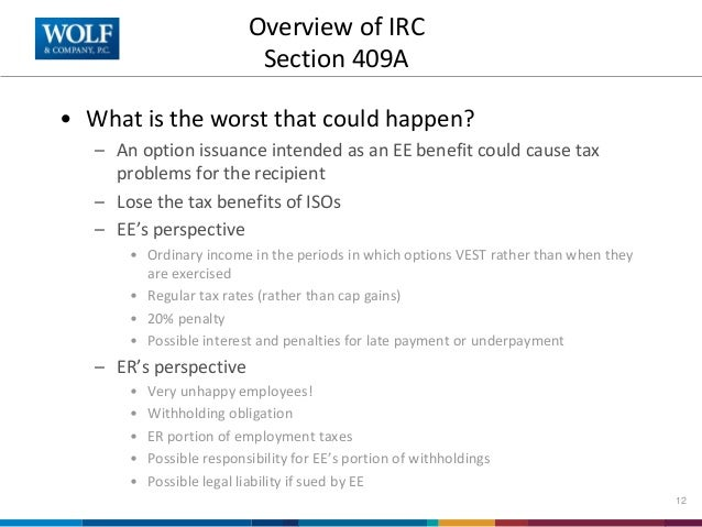 Irc 409a stock options