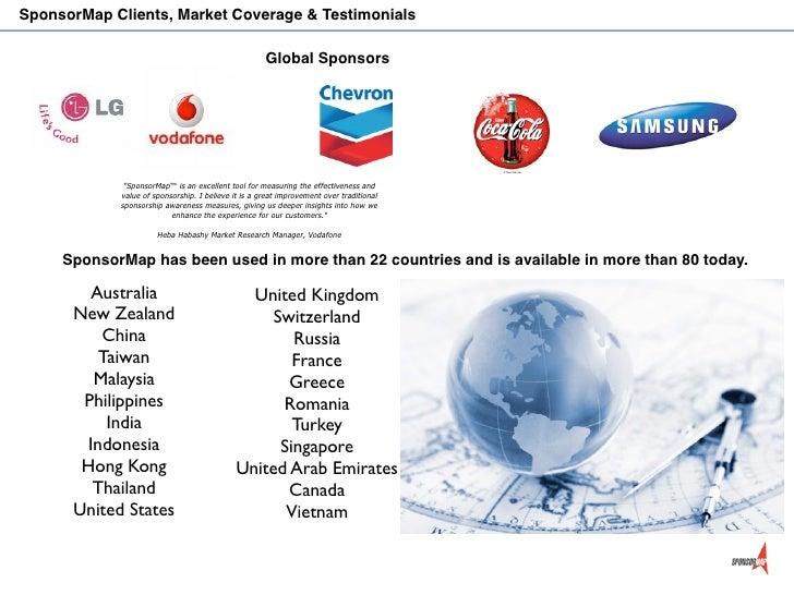SponsorMap Clients, Market Coverage & Testimonials                                                     Global Sponsors    ...