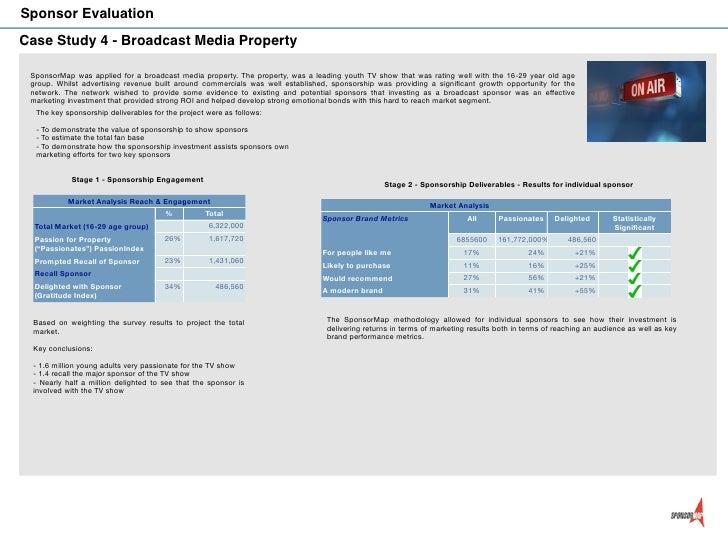 Sponsor EvaluationCase Study 4 - Broadcast Media Property SponsorMap was applied for a broadcast media property. The prope...