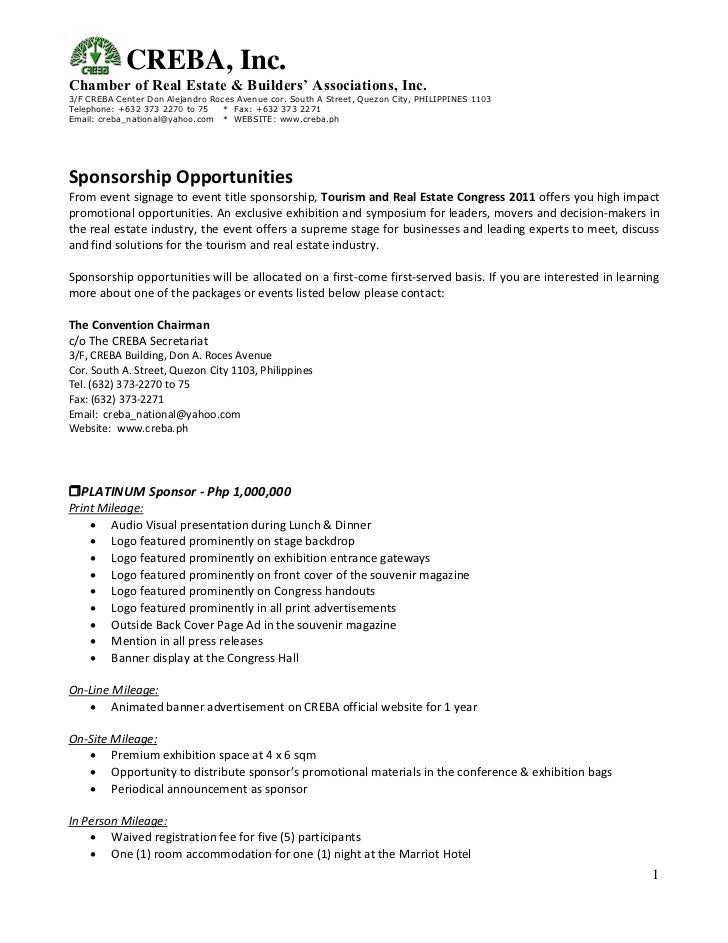 Sponsorship Package Template Sponsorship Package Examples – Sponsorship Packages Templates