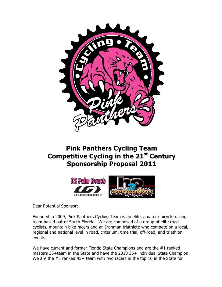 Pink Panthers Cycling Team Competitive Cycling In The 21st Century  Sponsorship Proposal ...  Clothing Sponsorship