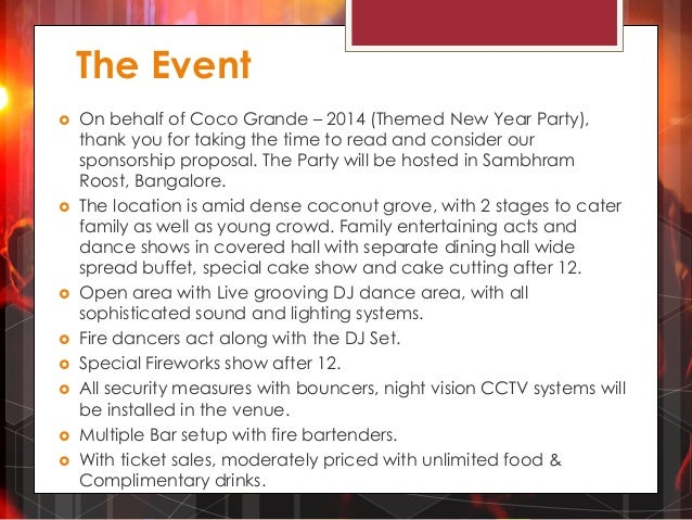 Sponsorship Proposal For Coco Grande - 2014