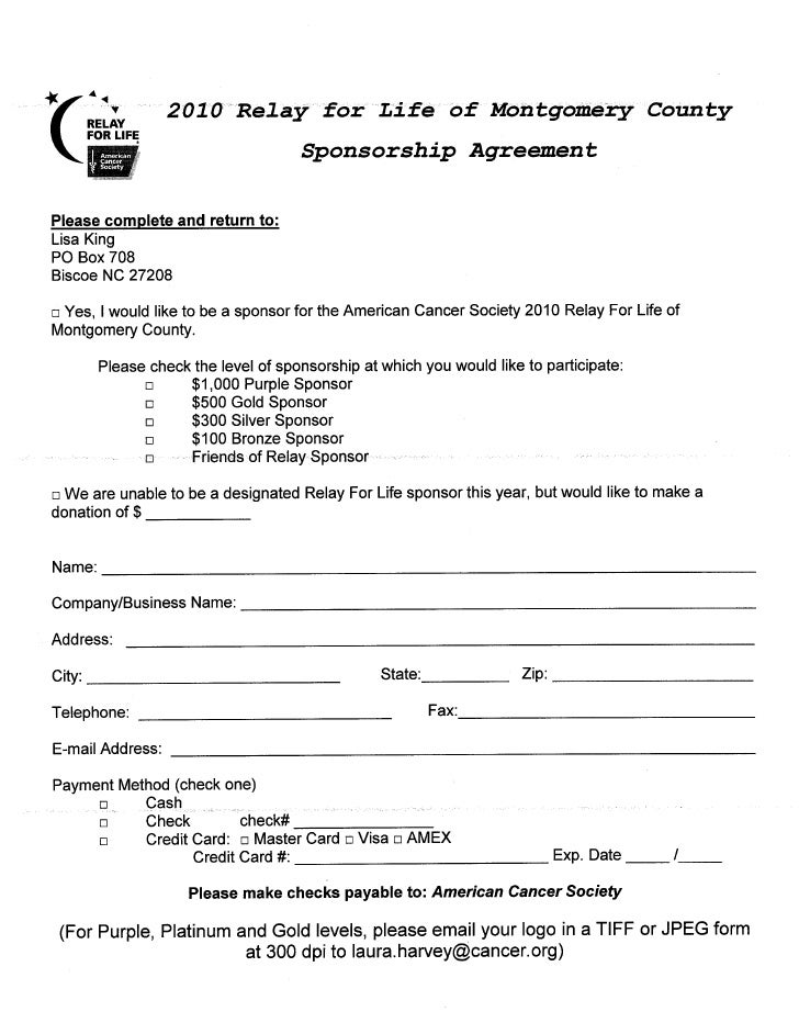Agreement – Sponsorship Agreement Template