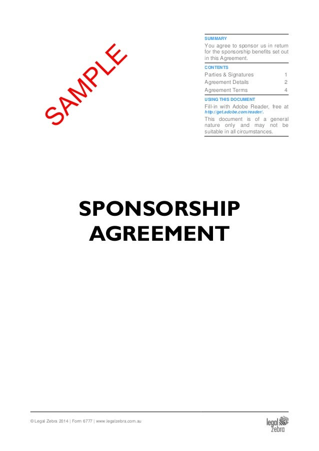 Sponsorship Agreement Template Sample – Event Sponsorship Agreement Template