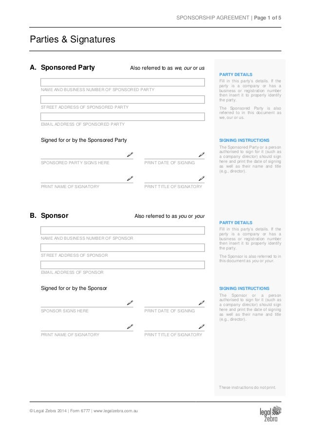 Sponsorship Agreement Template Sample – Sponsor Agreement
