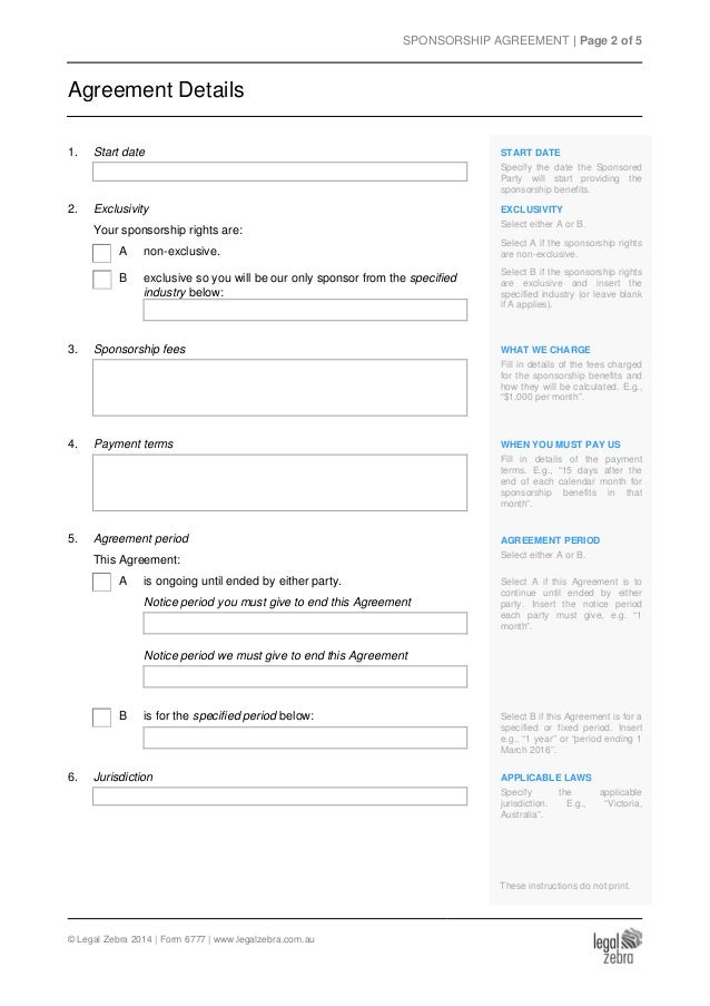 Sponsorship Contract Template Vosvetenet – Sponsorship Agreement Form