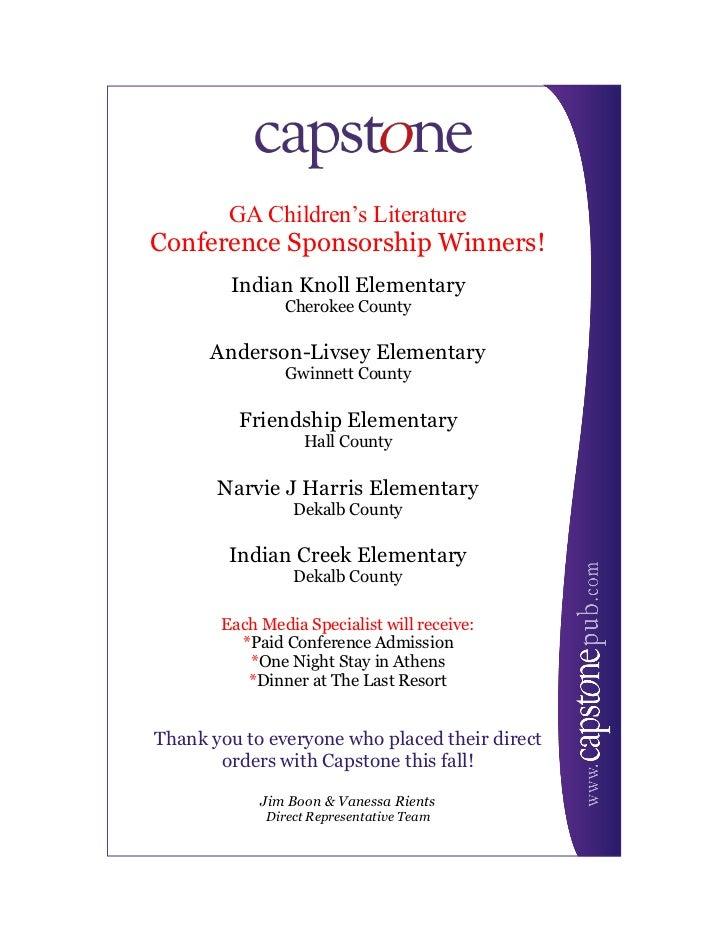 GA Children's LiteratureConference Sponsorship Winners!        Indian Knoll Elementary                Cherokee County     ...