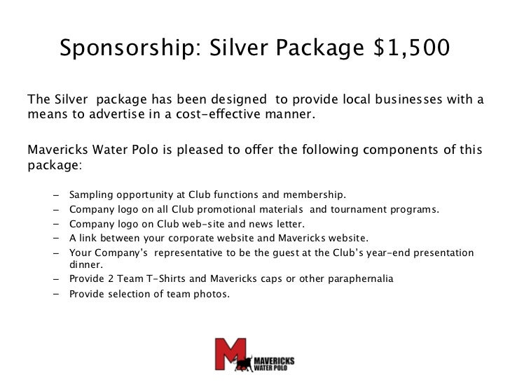 Mavericks Water Polo Sponsorship