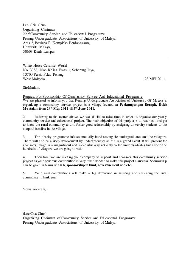 Sample of a letter of request for sponsorship lee chia chun organizing chairman 22nd community service and educational programme penang undergraduate associations of un spiritdancerdesigns