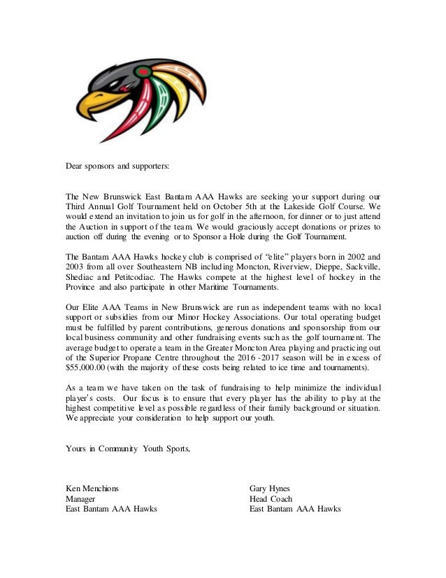 Dear sponsors and supporters: The New Brunswick East Bantam AAA Hawks are seeking your support during our Third Annual Gol...