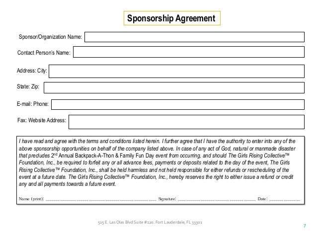 Sponsorship Agreementreport Template Document  Report