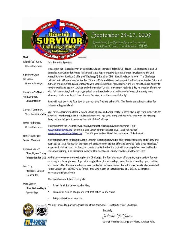 Survivor Class Sponsor: $1,000+· 2 VIP HSC event passesWebsite or business event E-blast for 30 days· Name recognition in ...