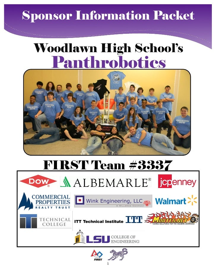 Sponsor Information Packet Woodlawn High School's    Panthrobotics   FIRST Team #3337            1