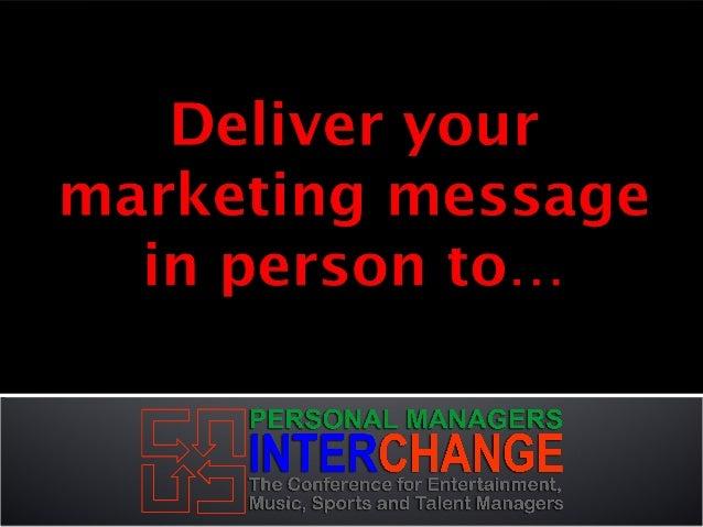 Personal Managers Interchange Sponsorship