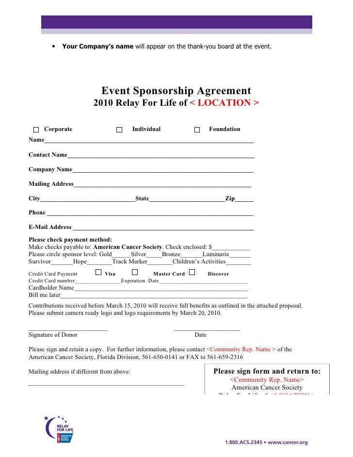 Doc725946 Sponsor Template Form Sponsorship Form Template – Sponsor Agreement