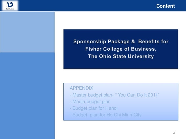 sponsorship proposal you can do it 2011 fisher college ohio state