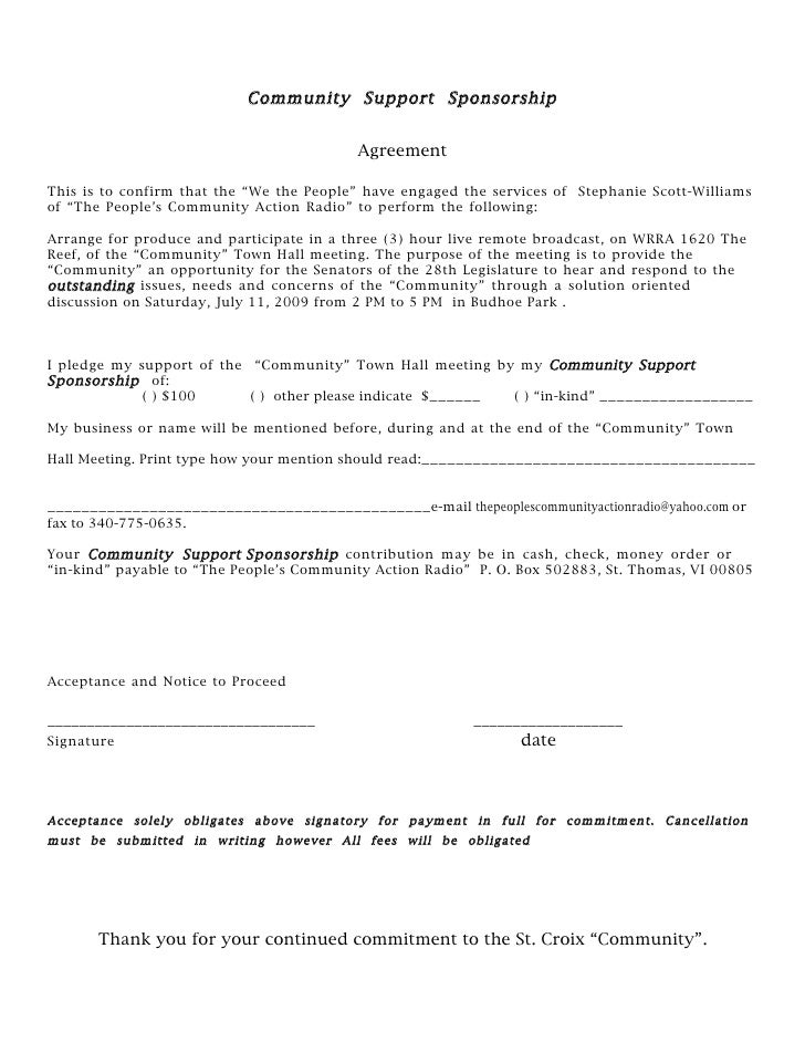 Doc460595 Sponsorship Agreements Sponsorship Agreement – Sponsorship Contracts