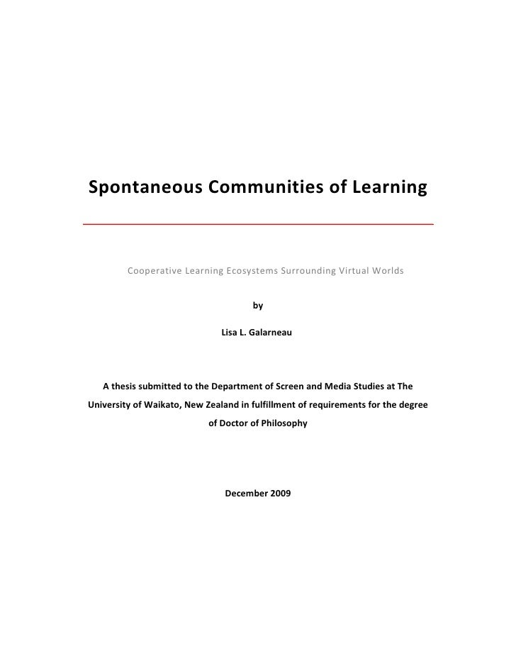 Spontaneous Communities of Learning             Cooperative Learning Ecosystems Surrounding Virtual Worlds                ...