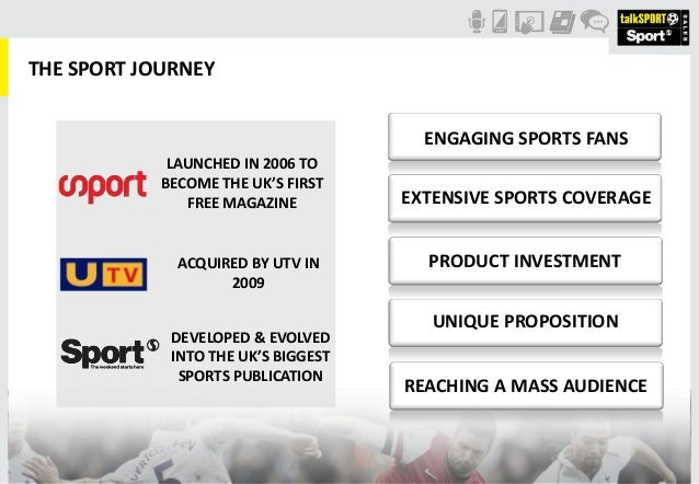THE SPORT JOURNEYLAUNCHED IN 2006 TOBECOME THE UK'S FIRSTFREE MAGAZINEACQUIRED BY UTV IN2009DEVELOPED & EVOLVEDINTO THE UK...