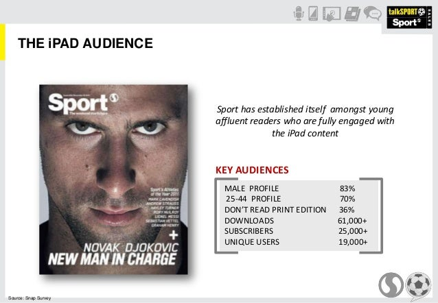 THE iPAD AUDIENCESport has established itself amongst youngaffluent readers who are fully engaged withthe iPad contentSour...
