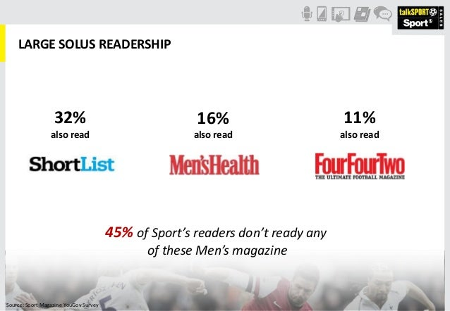 LARGE SOLUS READERSHIP45% of Sport's readers don't ready anyof these Men's magazine32%also read16%also read11%also readSou...