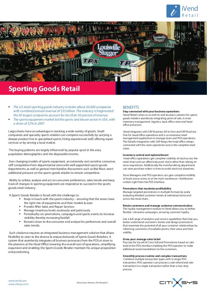 Sporting Goods Retail Software - SAP Business One with iVend Retail