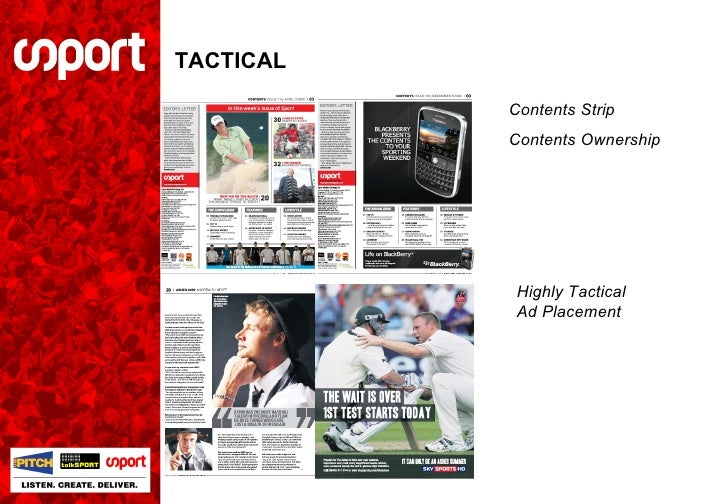 TACTICAL Contents Strip Contents Ownership Highly Tactical Ad Placement