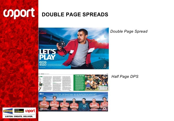 DOUBLE PAGE SPREADS Half Page DPS Double Page Spread
