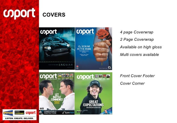 COVERS 4 page Coverwrap 2 Page Coverwrap Available on high gloss Multi covers available Front Cover Footer Cover Corner