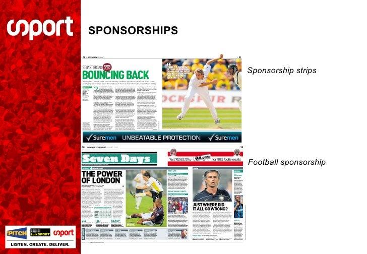 SPONSORSHIPS Sponsorship strips Football sponsorship