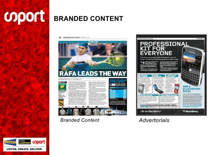 BRANDED CONTENT Branded Content Advertorials