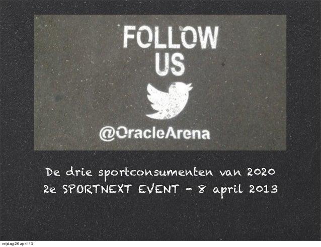 De drie sportconsumenten van 2020 2e SPORTNEXT EVENT - 8 april 2013 vrijdag 26 april 13