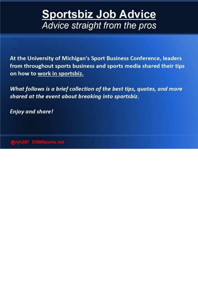 Job Advice from University of Michigan Sport Business Conference