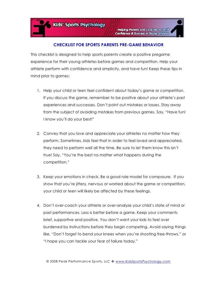 CHECKLIST FOR SPORTS PARENTS PRE-GAME BEHAVIOR  This checklist is designed to help sports parents create a positive pregam...