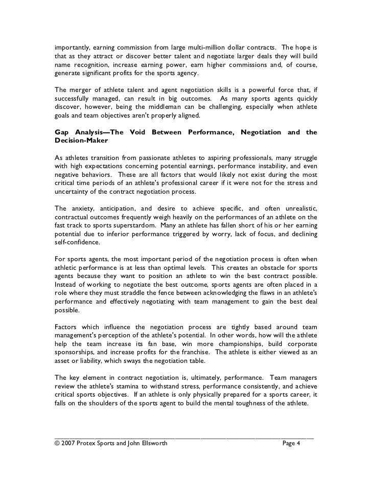 Sports Agent White Paper – Professional Athlete Contract Template