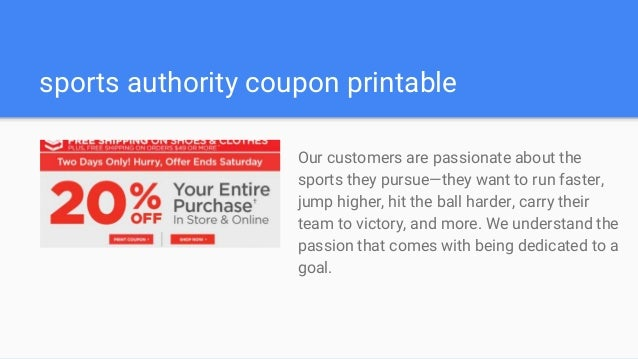 image about Sports Authority Printable Store Coupons identified as Athletics authority discount codes