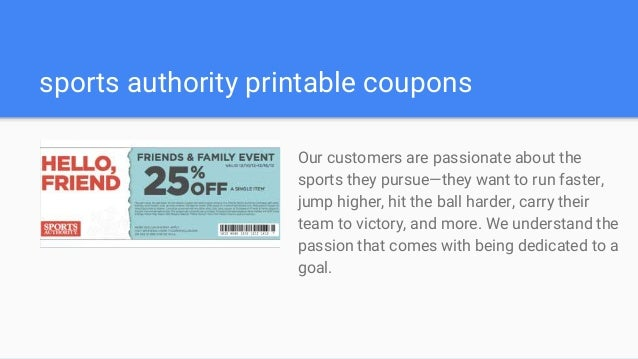 image relating to Sports Authority Coupons Printable titled Athletics authority discount codes