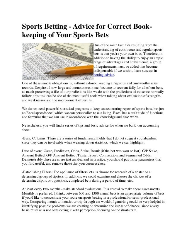 Sport betting book keeping mauro betting fox 8