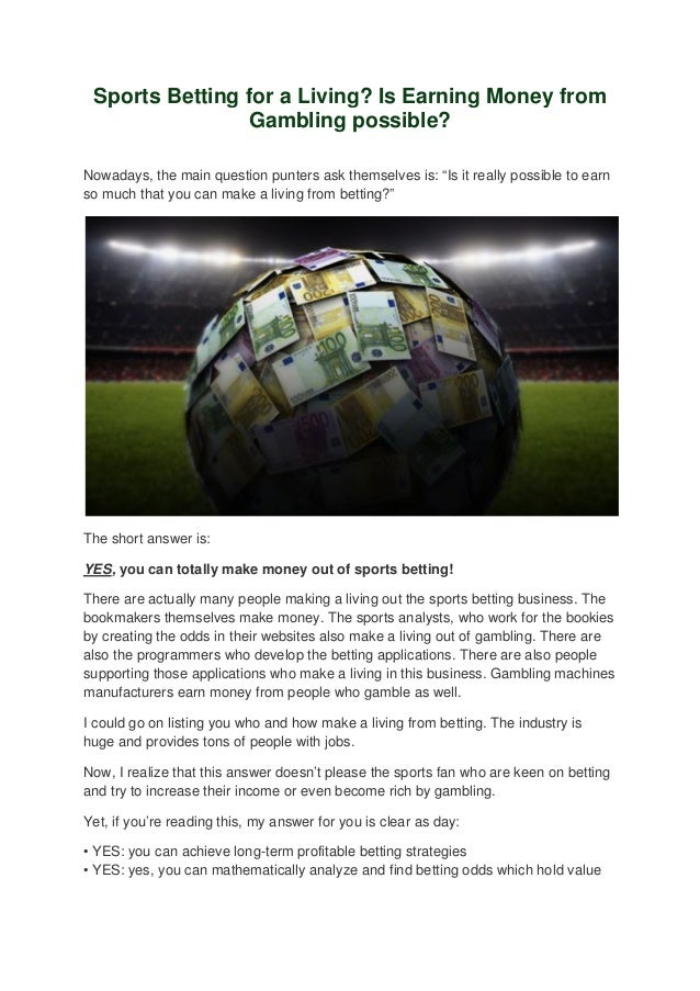 Sports betting for a living who kills tina betting sites